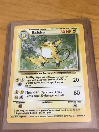 Pokemon card 1999 Holo rare Raichu 14/102 Item Image