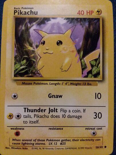 Pikachu 58/102 yellow cheeks shadowless Item Image