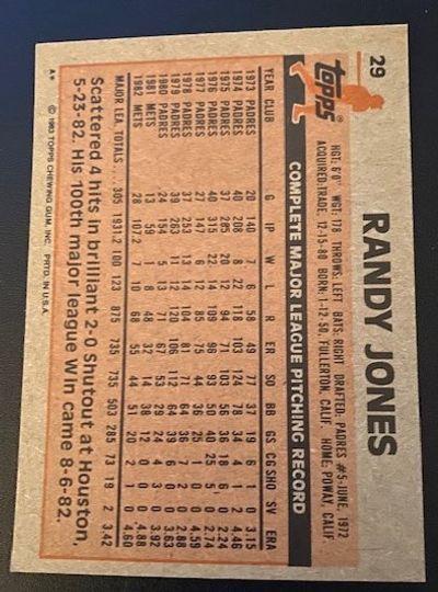 1983 Topps Mets Randy Jones 29 Item Image